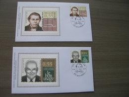 """BELG.2005 3353 & 3354 FDC Silk-soie-zijde  """"Onze Taal - Maurice Grevisse - Johan Hendrik Van Dale""""   (album 111) - 2001-10"""