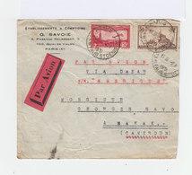 Enveloppe Par Avion Vers  Cameroun Timbre Poste Aérienne 1F50 Carmin Et  5 F Brun. CAD Faubourg Saint Denis 1931.(823) - Marcophilie (Lettres)