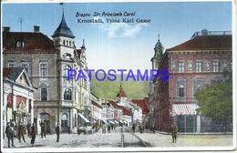 102914 ROMANIA BRASOV KRONSTADT STREET PRINCIPELE CAROL & RAILROAD POSTAL POSTCARD - Romania