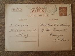 Entier Postal - TP Iris Sans Valeur - Cachet De Recette Auxiliaire - Saint Amans Soult CP N°1 - Destination Bourges - Marcophilie (Lettres)