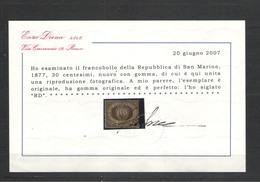 SAN MARINO 1877 STEMMA 30 C.BRUNO CENTRATO * GOMMA ORIGINALE  CERT. DIENA - Saint-Marin