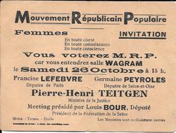 Invitation Aux Femmes à Un Meeting MRP Années 46-47 - Faire-part