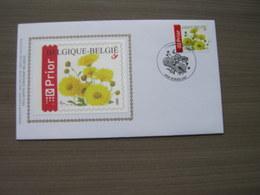 """BELG.2005 3432 FDC Silk-soie-zijde  """"Buzin, Bloemen : Chrysant""""   (album 111) - 2001-10"""