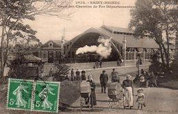 CPA, Saint Brieuc, Ligne Des Chemins De Fer Départementaux, Animée, Nounous Et Landaus, Train En Gare - Saint-Brieuc