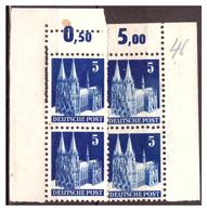 All.Besetzg., Bizone, 4x Nr. 75 WVF, Postfrisch - Bizone