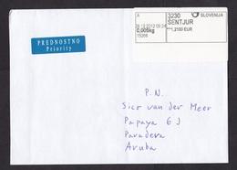 Slovenia: Priority Cover To Aruba, 2012, ATM Machine Label, Value 1.2100, Sentjur, Rare Destination (traces Of Use) - Slovenië