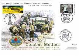 Lettre 70eme Anniversaire Debarquement Normandie Juin 1944 2014 Timbre Collector Images Jour J Medical Company - Guerre Mondiale (Seconde)