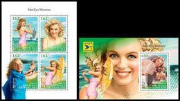 CENTRAL AFRICA 2018 **MNH SMALL Marilyn Monroe Cinema Kino Film M/S+S/S - OFFICIAL ISSUE - DH1845 - Cinema