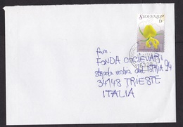 Slovenia: Cover To Italy, 2007, 1 Stamp, Orchid Flower, Cancel Portoroz-Portorose (traces Of Use) - Slovenië
