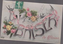 Cpa B39 Un Baiser De STAINS-fleurs-hirondelles - Stains