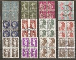 France - Petit Lot De 12 Blocs De 4° - Semeuse - Paix - Cérès - Sabine - Liberté - Marianne Du Bicentenaire - Lots & Kiloware (mixtures) - Max. 999 Stamps