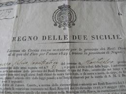 1849  RARE GAME ( HUNT ) LICENCE  OF REIGN  OF TWO  SICILY / RARISSIMA LICENZA DI CACCIA  DEL REGNO 2 SICILIE - Diploma & School Reports