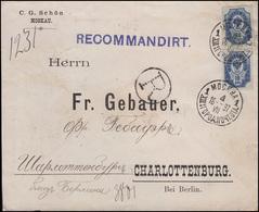 Rußland 52 Wappen 2x 10 K. MeF R-Brief MOSKAU 18.7.97 Nach Charlottenburg/Berlin - Unclassified