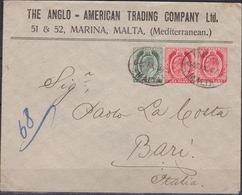 Malta 1905 - Cover To Bari Franked Half P. + 1 P. X 2 - Malta