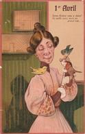 Fétes : Femme Et Son Chien : Carte Illust. Gaufrée : 1ér Avril - 1 De April (pescado De Abril)