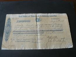 1899 ANCIENT BEAUTIFUL RARE CHEQUE  BANK OF TARAPACA & LONDON LIMITED IN CHILE / RARO ASSEGNO DEL CILE - Assegni & Assegni Di Viaggio