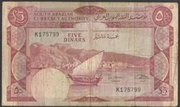 Yemen Democratic Banknote 1965 5 Dinars South Arabian Currency Authority 5 DINAR Bank Note - Yémen