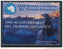 PERU 1999 Antarctica/Antartida, 40° Anniversary Antarctic Treaty 1v**SCARCE - Trattato Antartico