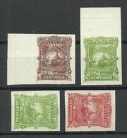 EL SALVADOR 1891 ESSAY Plate Color PROOFS 4 Exemplares (*) - El Salvador