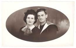 Photo Couple, Soldat, Marin Marine Nationale - Guerre, Militaire