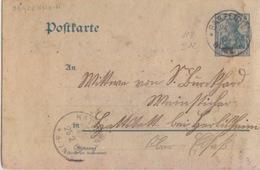 Haut-Rhin, Entier 5pf Germania Obl Bantzenheim (T113 Banzenheim)  Le 25/2/03 Pour Hattstadt (T162) - Alsace-Lorraine