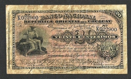 URUGUAY BANCO NACIONAL 20 CENTESIMOS 1887 PICK # A88a ERROR MISSING PRINT L@@K - Uruguay