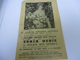 Prospectus Publicitaire/ Patinage / SONJA HEINIE/ Palais Des Sports/Revue Sur Glace/ 1953    SPO338 - Skating (Figure)