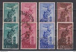 REPUBBLICA:  1948/52  P.A.  CAMPIDOGLIO  -  S. CPL. 4  VAL. US. -  RIPETUTA  2  VOLTE  -  SASS. 142/45 - Luftpost