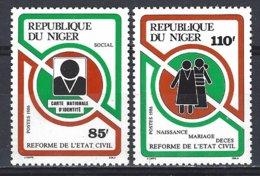 Niger Yv  706/7 Reforme De L'état Civil ** Mnh - Niger (1960-...)