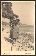 MAKARSKA Woman With Hat On Beach Old Photo 9x14 Cm #23970 - Anonymous Persons