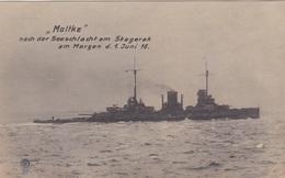 """Alte Ansichtskarte Des Großen Kreuzers """"Moltke"""" Nach Der Seeschlacht Am Skagerak Am Morgen Des 1. Juni 1916 - Guerre"""