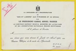 """1961 Faire Part INVITATION Inauguration """"Son Et Lumière"""" Pyramides Sphinx GAMAL ABDEL NASSER Egypte Egypt - Faire-part"""