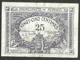MONACO 25 CENTIMES 1920 EXTRA VF+ - Mónaco