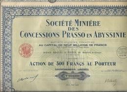 LOT DE 3 ACTIONS DE 500 FRS - SOCIETE MINIERE DES CONCESSIONS PRASSO EN ABYSSINIE-ANNEE 1926 - Mines