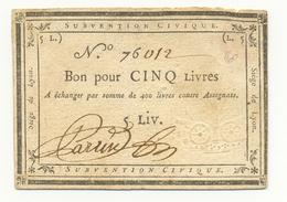 SIEGE DE LYON 5 LIVRES 1793 - Assignats & Mandats Territoriaux