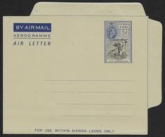 SIERRA LEONE Aerogramme 3d Queen & Native C1950s Unused STK#X21249 - Sierra Leone (...-1960)
