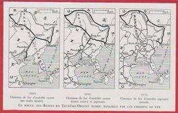 Le Recul Des Russes En Extrême Orient Rendu Tangible Par Le Chemin De Fer. Cartes De 1905, 1931 Et 1935. - Autres
