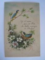 Carte Celluloïd Anniversaire Handgeschilderd Peinte Main Oiseaux Fleurs Vogels Bloemen Circulée - Cartes Postales