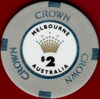 $2 Casino Chip. Crown, Melbourne, Australia. I01. - Casino