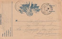Rare Lettre Correspondances Aux Armées Drapeaux Alliés - 1914-18