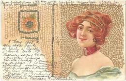FEMME - Illustration ART NOUVEAU - Mosaic, Gold, Mosaïque - 1903 - (adressée à Madame TÉZIER, Issy-les-Moulineaux) - 1900-1949