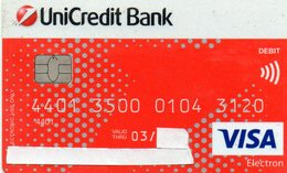 ROMENIA -  DEDIT / CARD - VISA ELECTRON - UNICREDIT BANK  [#.R.1] - Geldkarten (Ablauf Min. 10 Jahre)