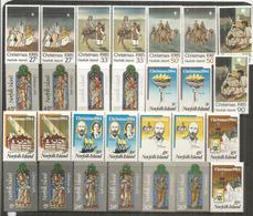 Noël à L'ÎLE NORFOLK,  Années 1983-1984-1985.   14 Timbres Neufs ** En Paires - Norfolk Island