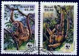 LSJP BRAZIL Preservation Fauna Monkeys Wwf Rhm 1401/2 1984 - Oblitérés
