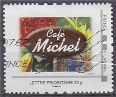 = MonTimbraMoi Café Michel Lettre Prioritaire 20g Cadre Philaposte Oblitéré, Avec Une Carte D'accompagnement - Frankreich