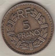5 FRANCS 1940. Bronze Aluminium - France