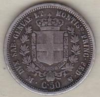 REGNO DI SARDEGNA . 50 CENTESIMI 1860 M (MILANO). VITTORIO EMANUELE II. ARGENT - Monnaies Régionales
