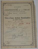 ACTION NOMINATIVE De L'UNION Des COOPERATEURS De La CREUSE - Zonder Classificatie