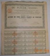 "ACTION S.A. DU PLACER "" ENFIN "" En GUYANE FRANCAISE Du 25 Juillet 1887 - Mines"