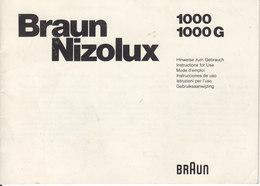 AD036 - Original Bedienungsanleitung Manual Braun Nizolux 1000 + 1000G - Alte Papiere
